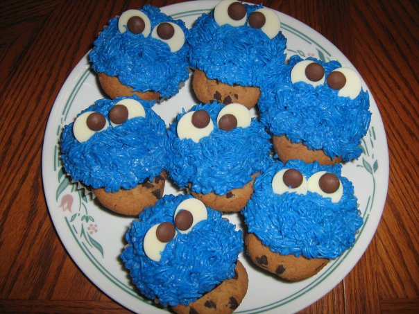cookie monster on the plate ready to gobble up