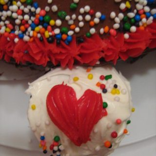 heart decorated cupcake