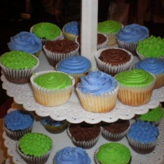 Periwinkle, lime green, and chocolate buttercream cupcakes