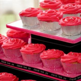 Hot Pink Cupcakes with Cupcake Tree