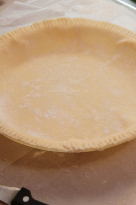 Cut the edges and you can shape the crust as you desire, you may pinch the ends as I usually do, or with a fork simply press down. There are so many neat ideas on Pinterest that you can use as well. I like to use the extra dough to cut out shapes and decorate the pie with.