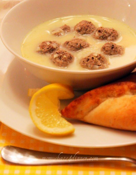 Avgolemono Egg & Lemon Soup with Meatballs