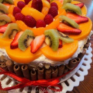 Fruit topped cake with wafers