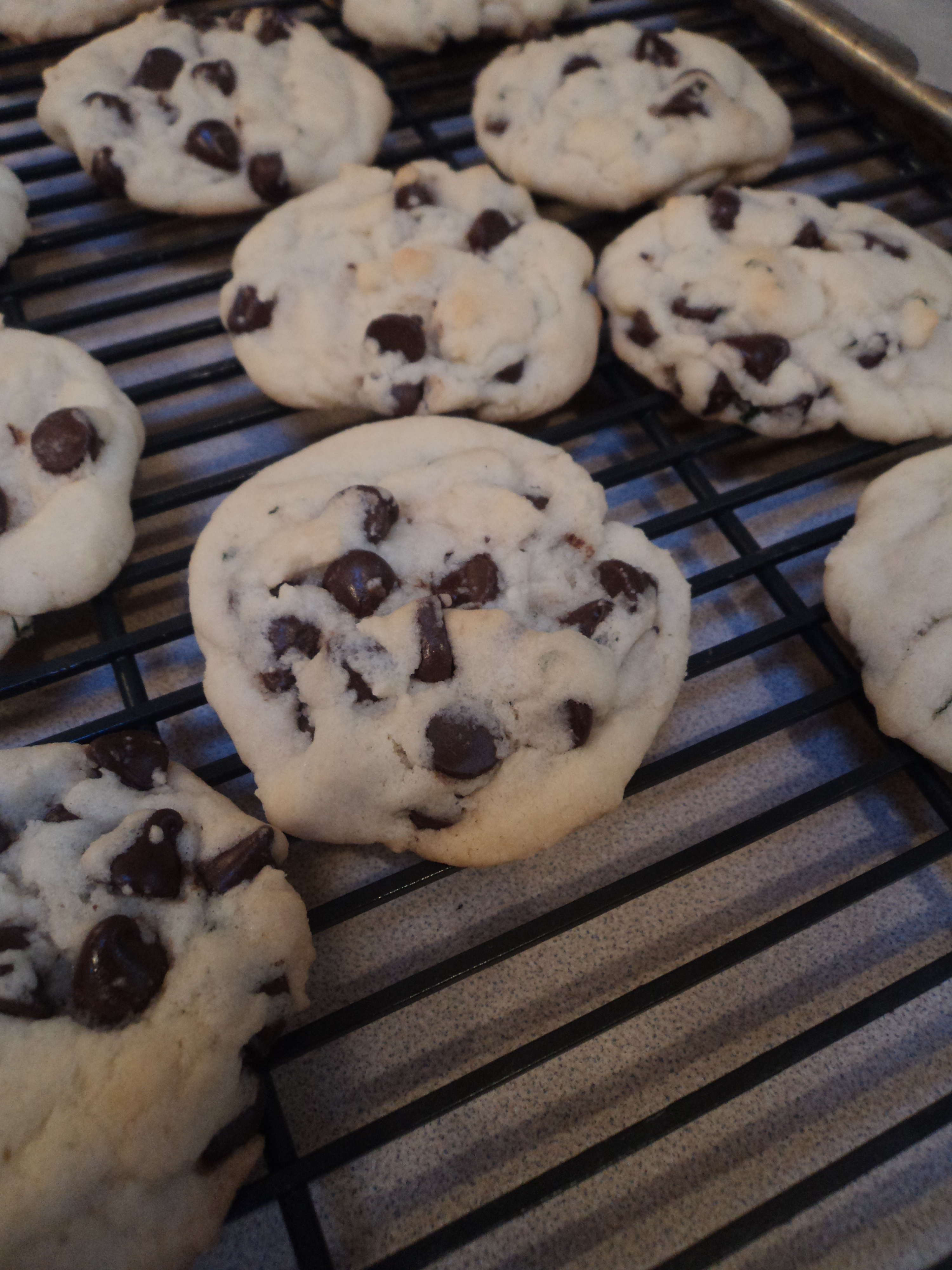 cookies cooling on rack