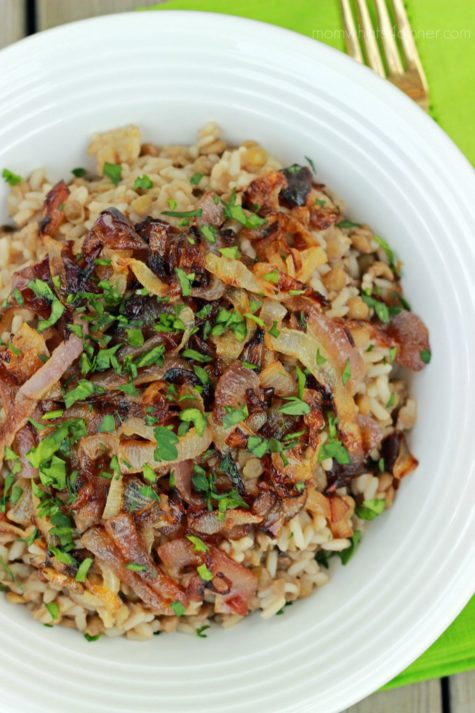 Lentils and Rice with Caramalized Onions