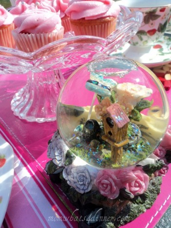 My other daughters snow globe, I think it was a lovely accent to our table setting
