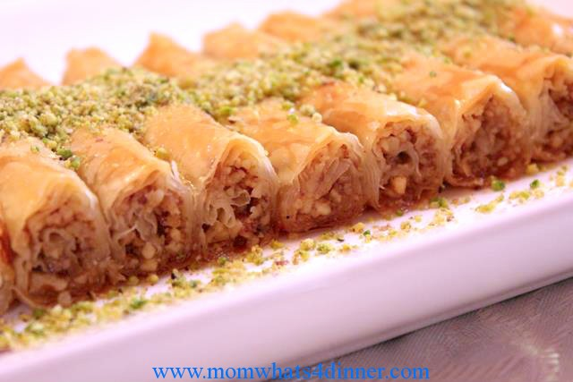 * The syrup must be cooled and poured over hot baklava or fingers 3 cups sugar 2 cups water; Bring the sugar and water to boil and cook for about 5 minutes on medium heat. Add a squeeze of lemon juice at end, then remove from pot and let cool. You might have extra syrup leftover you can use for other uses.