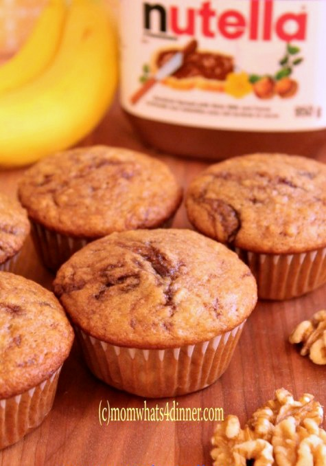 Banana Nut Muffins with Nutella