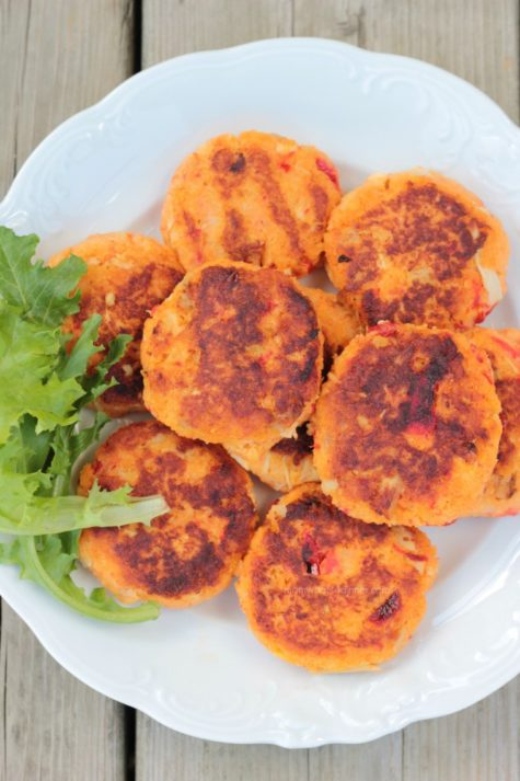 Potato Patties with Chicken and Roasted Red Pepper