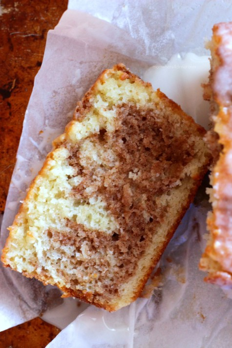 Slice of Cinnamon Swirl Loaf Cake