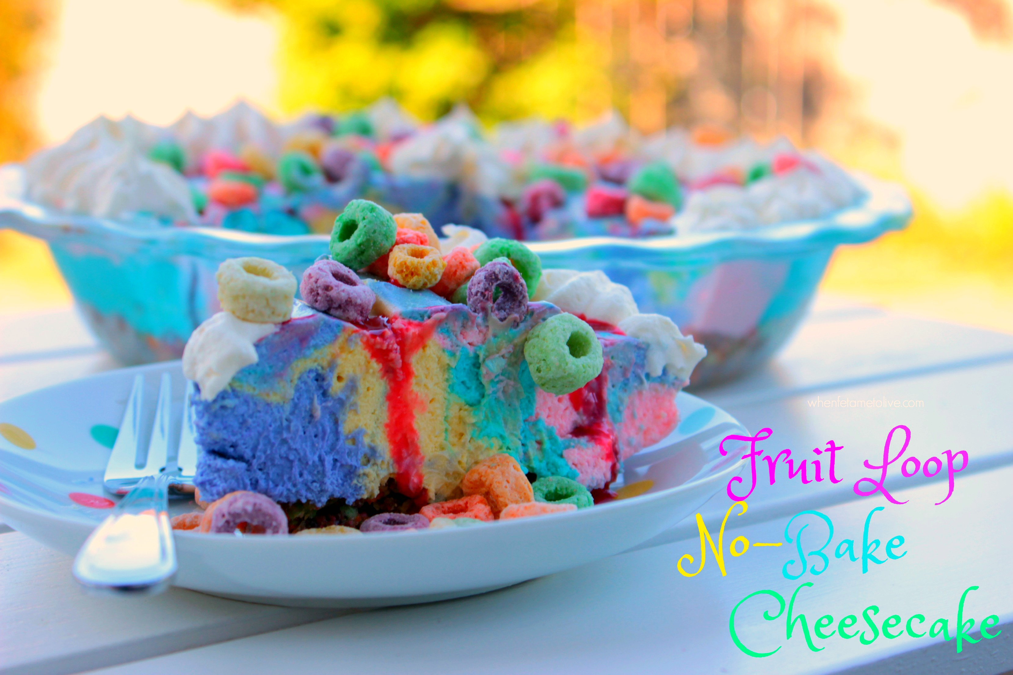 No-Bake Fruit Loop Cheesecake